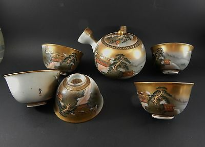 Very Fine Japanese 6 Piece Tea Set Meiji Period Teapot 5 Cups All Signed C. 1890