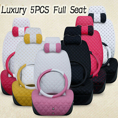 Luxury Multicolor Lady Full Set PU Leather Car Seat Cover Set Cushion Breathable