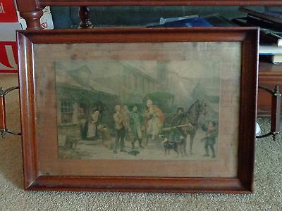 Antique Wood/glass Serving Tray Civil War Scene