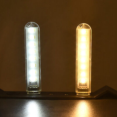 Portable 8 Leds White USB LED Night Light Lamp For Mobile Power Laptop Computer