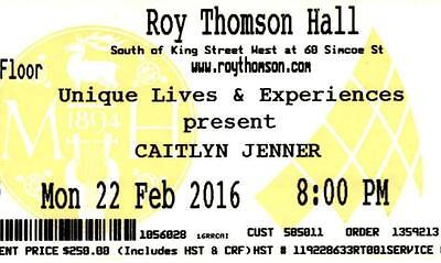 Caitlyn Jenner Cancelled 2016 Tour Ticket – Roy Thomson Hall, Toronto