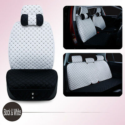 New Luxury Breathable PU Leather Full Car Seat Cover Set Cushion Black And White