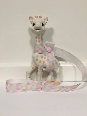 Sophie The Giraffe's Harness Toy/ Drink/ Leash/ strap /saver- Squares