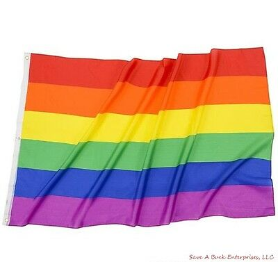Polyester Rainbow Flag 3x5 FT Gay Pride Lesbian Peace LGBT Flag with Grommets