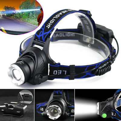 12000LM XM-L T6 LED Phare Rechargeable Frontale Zoomable Headlight Torche Lampe
