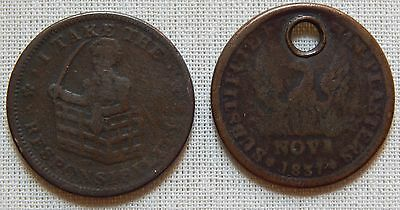 Pair 1830's Hard Times Tokens Special Payments Suspended I Take Responsibilty