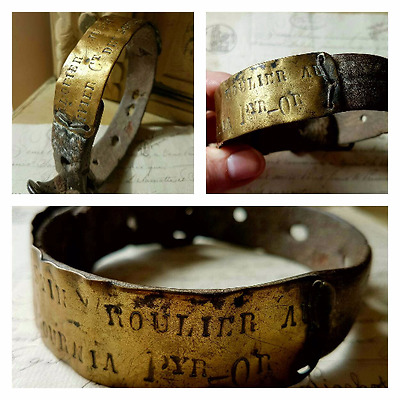 Rare 19thC Antique French Engraved Brass & Leather Dog Collar Pyrénées-Orientale