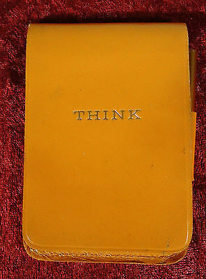 Vintage 60s IBM THINK Leather Memo Pad Notepad with Original Pencil and Paper