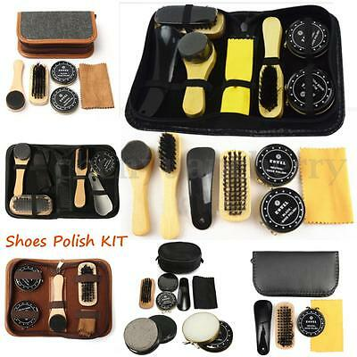 Shoe Shine Polish Cleaning Care Brushes Sponge Cloth Kit Set Travel With Case
