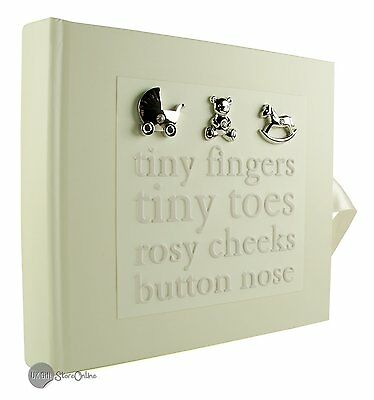"Baby photo album gift with 3D icons holds 80 6"" x 4"" photos"
