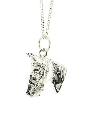 925 Sterling Silver Horse Head Pendant Made in England Equine Jewellery