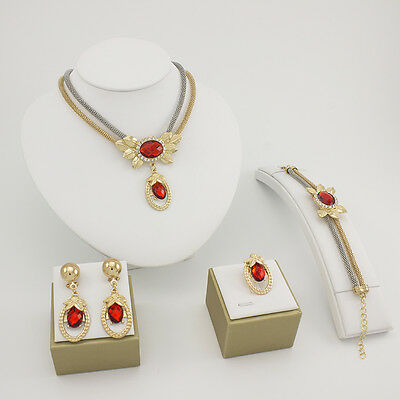 New Red Gem Rhinestone Pendent Necklace Earrings Ring Bracelet Jewelry Set Gift
