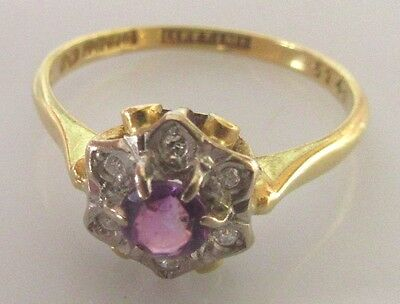 Vintage 18ct yellow gold amethyst diamond round flower cluster ring size O.