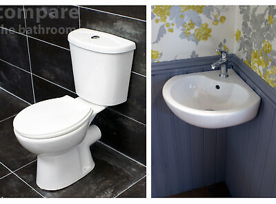 Heritage Caprieze Corner Basin Sink + Close Coupled Toilet Set Cloakroom Ensuite