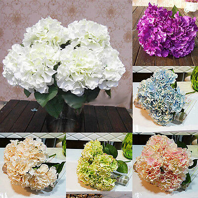 5 Têtes Marriage Artificiel Hortensia Fleur De Soie Maison Fête Bouquet Décor
