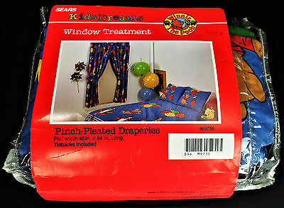 Disney Winnie the Pooh Bear Vtg USA Window Curtains Tigger Piglet Dumbo Material