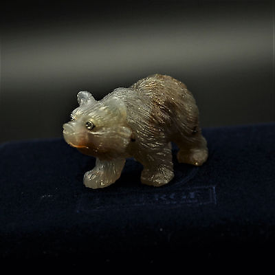 """Faberge Agate Standing Bear with Diamond Set Eyes 1-3/4"""""""