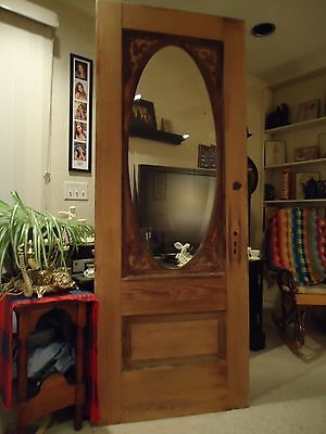 Antique Exterior Pine Wood Door Virtually Flawless Beveled Oval Glass, Nice!