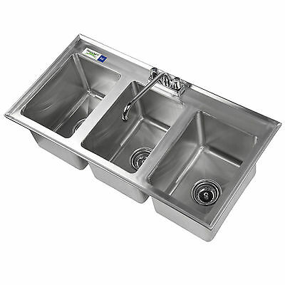 "Stainless Steel Drop In Sink 3 Commercial Three Compartment 10"" x 14"" x 10"" NSF"