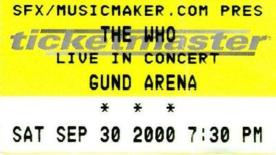 The Who Tour 2000 Ticket Stub - 2000 Gund Arena, Cleveland