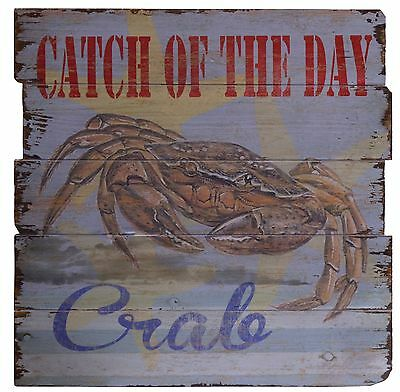BILD 50x50 CM -  CRAB- HOLZBILD HOLZTAFEL CATCH OF THE DAY- ANTIK STIL