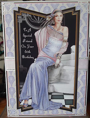 Handmade Art Deco personalised 60th birthday card with a classic lady in lilac