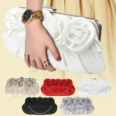 UK Wedding Bridal Flower Satin Clutch Long Chain Evening Party Purse Handbag Bag