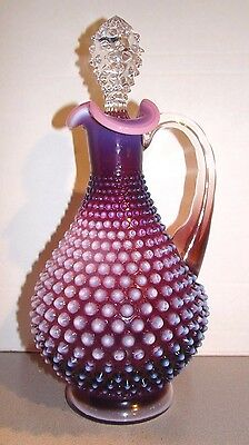 Fenton Plum Opalescent Hobnail Wine Decanter