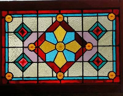 Victorian Stained Glass Window With Jewels 24 By 35