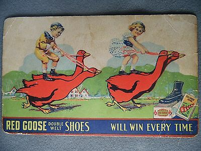 VINTAGE Early 1900's Red Goose Shoes Post Card Advertisement