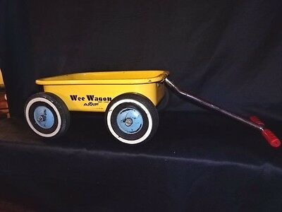 Vintage AMF Wee Wagon Pressed Steel Childs Pull Toy Flower Basket