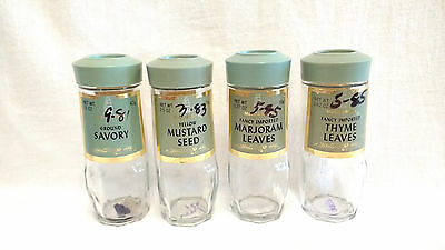 McCormick Glass Spice Jars With Green Lids Vintage 1980's Lot of 4