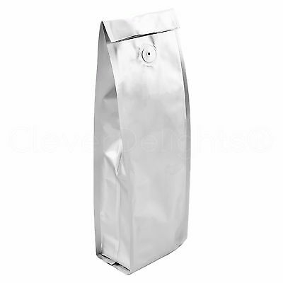 100 Silver Coffee Bags with Degassing Valve - 1Lb (16oz) Bag - Retail Packaging