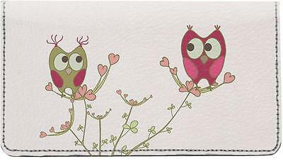 Owls in Love Leather Checkbook Cover