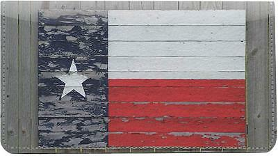 Texas Flags Leather Checkbook Cover