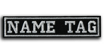 """CUSTOM Your Name Tag 4"""" x 1"""" Embroidered PATCH Motorcycle Biker HOOK&LOOP IRON"""