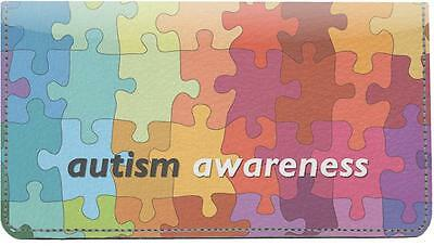 Autism Awareness Leather Checkbook Cover