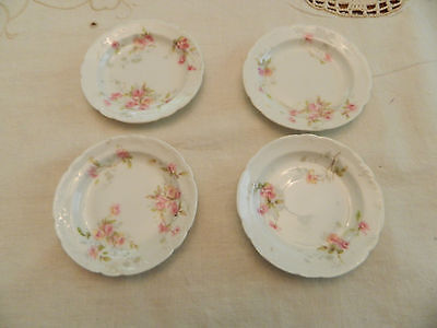 Theodore Haviland Limoges China (4) Butter Pats Pink & Yellow Roses 6-5