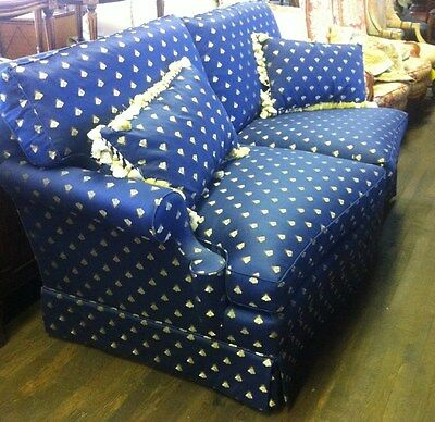 CENTURY FURNITURE Couch, Navy Oversized Couch, French Bees Design Couch 368A