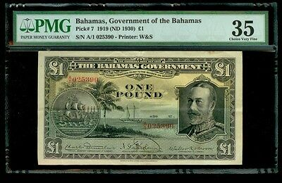 1919 (1930) Bahamas One Pound King George V Note Pmg Choice Very Fine 35 Kp #7