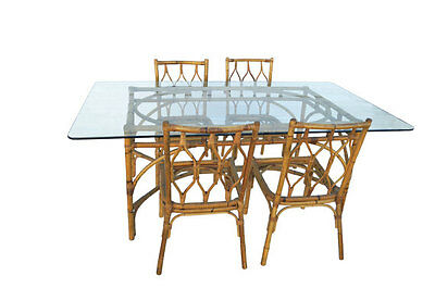 MCM Hollywood Regency Bamboo & Glass top  Dining Table & Chairs Set