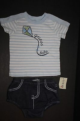 Baby Guess Boys 6-9 Months Blue White Shirt Denim Shorts 2 Piece Outfit New