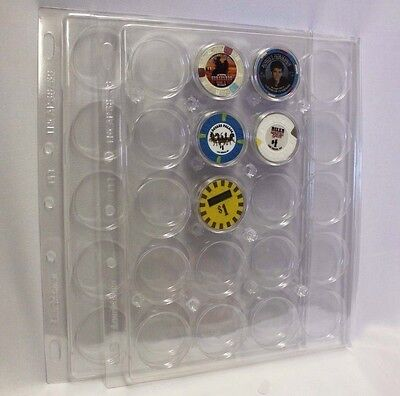 2 Lighthouse ENCAP Coin Capsule Pages 38/39 Holders Poker Chip Page Holds 20