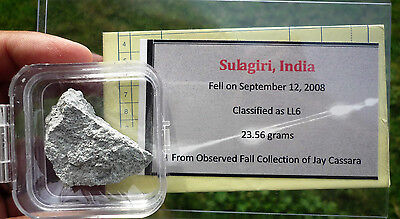 23.56 gram SULAGIRI METEORITE  - 2008 fall in India - mhmeteorites provenance