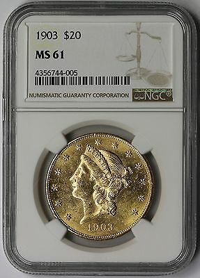 1903 Liberty Head Double Eagle Gold $20 MS 61 NGC