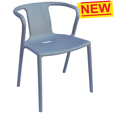 Grey Stackable Plastic Outdoor Dining Chair Cafe Polypropylene