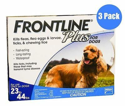 Frontline Plus for dogs 23-44lbs Blue 3 Month Supply USA EPA Approved