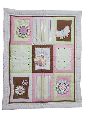 Ladybug  Appliqued Crib Comforter Only - Flowers -Pink Polkadots