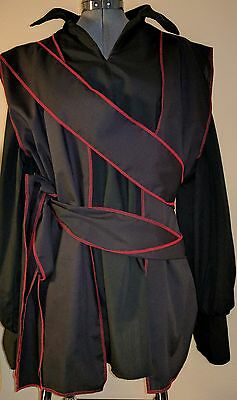 adult mens black and red SCA renaissance pirate vest costume costumes 40""