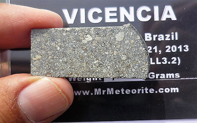 4.36 gram VICENCIA METEORITE - 2013 fall in Brazil - LL3.2 - w/provenance!